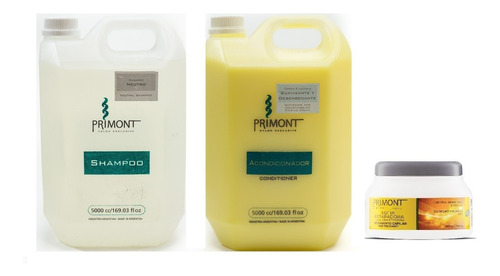 kit nutritivo shampoo neutro + balsam + mascara primont x 5l
