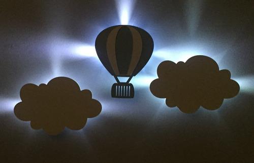 kit nuvem e balão led luminária abajur decoração quarto bebê