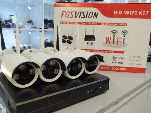 kit nvr + 4 camaras seguridad 720p hd  / fosvision / wifi