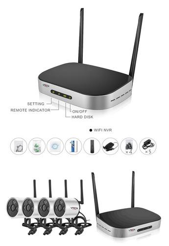 kit nvr inalámbrico 4 canales + 4 cámaras ip wifi 960p