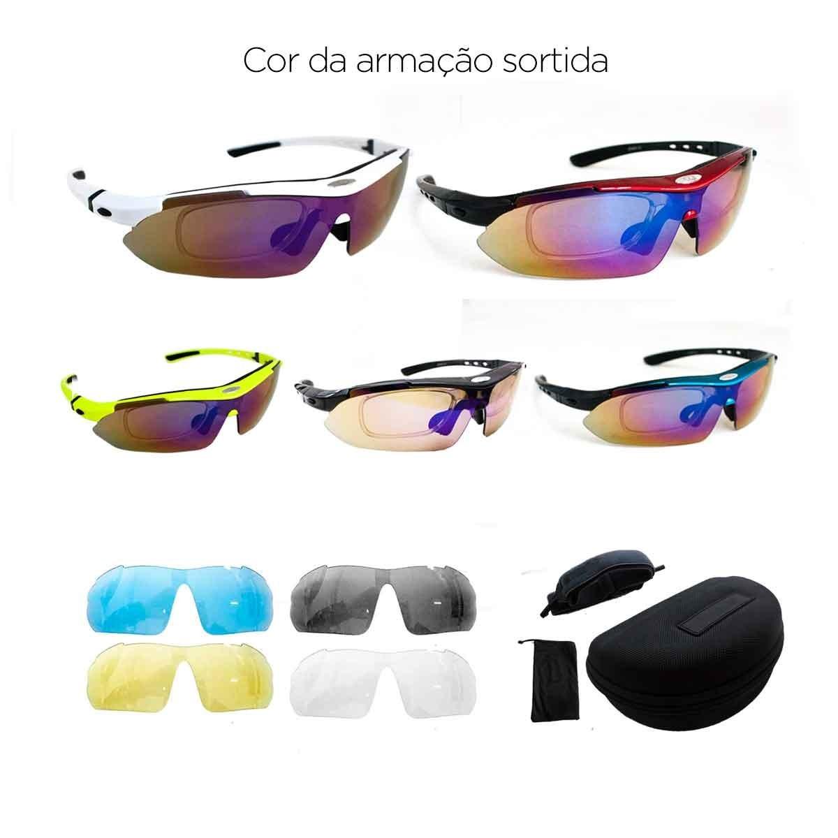 a0846a9af kit óculos ciclismo 5 lentes polarizado suporte grau bike. Carregando zoom.