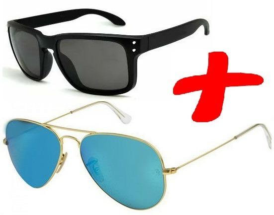 9f0473f188d5f Kit Óculos De Sol Espelhado Masculino Quadrado Aviador Preto - R  68 ...