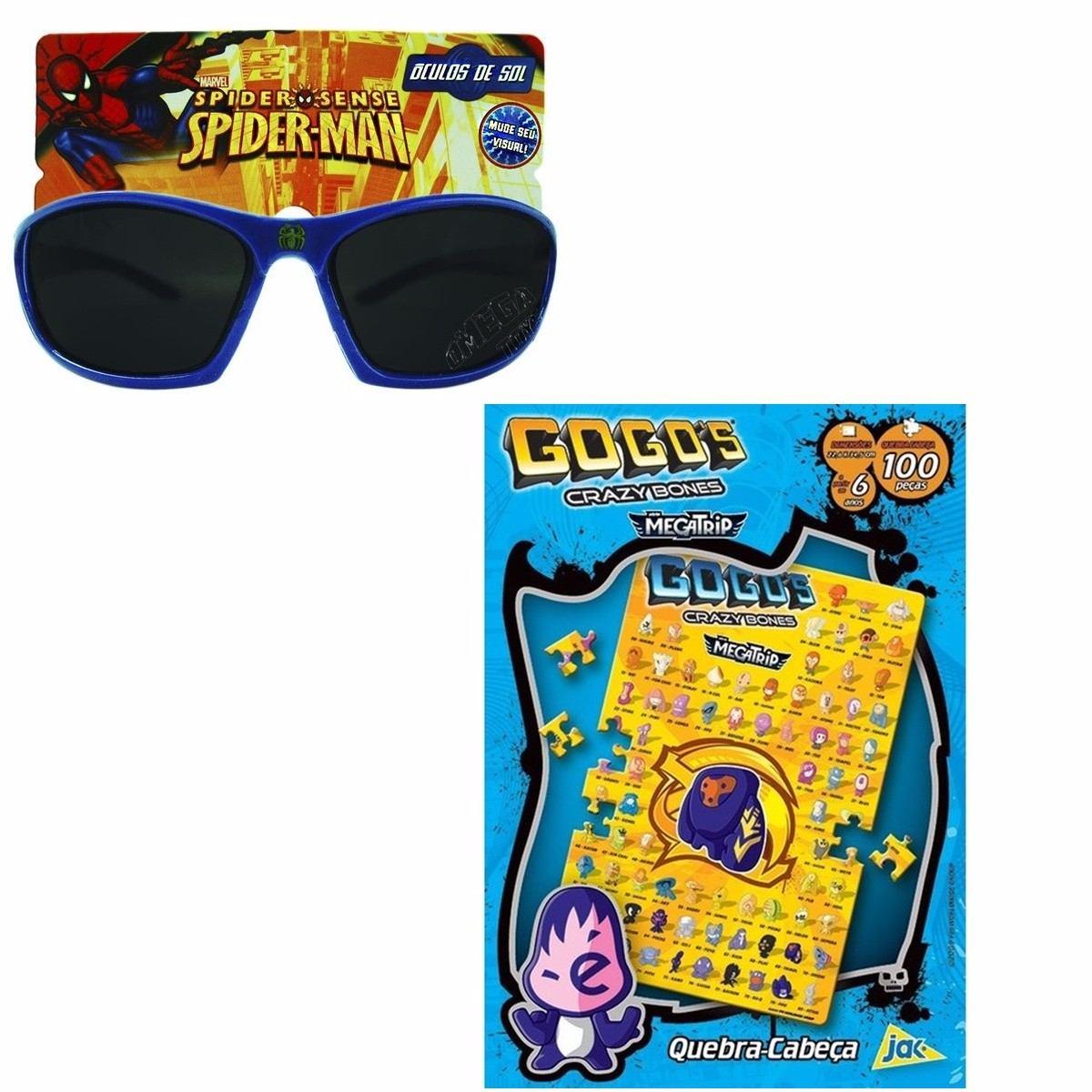 fff0f4632d488 kit óculos de sol infantil homem aranha e quebra cabeça. Carregando zoom.