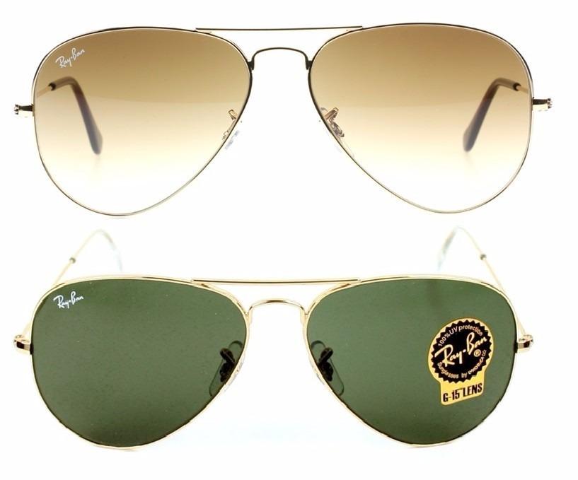4bed80419497b kit óculos original ray-ban aviador dourado marrom e verde. Carregando zoom.