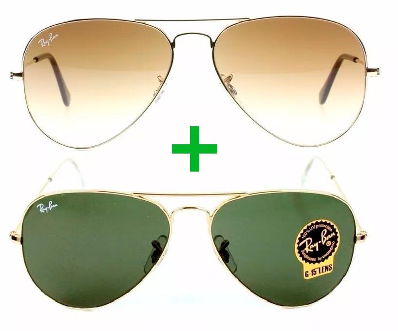 kit óculos original ray-ban aviador marrom degrade verde g15. Carregando  zoom. c19f52c3e3