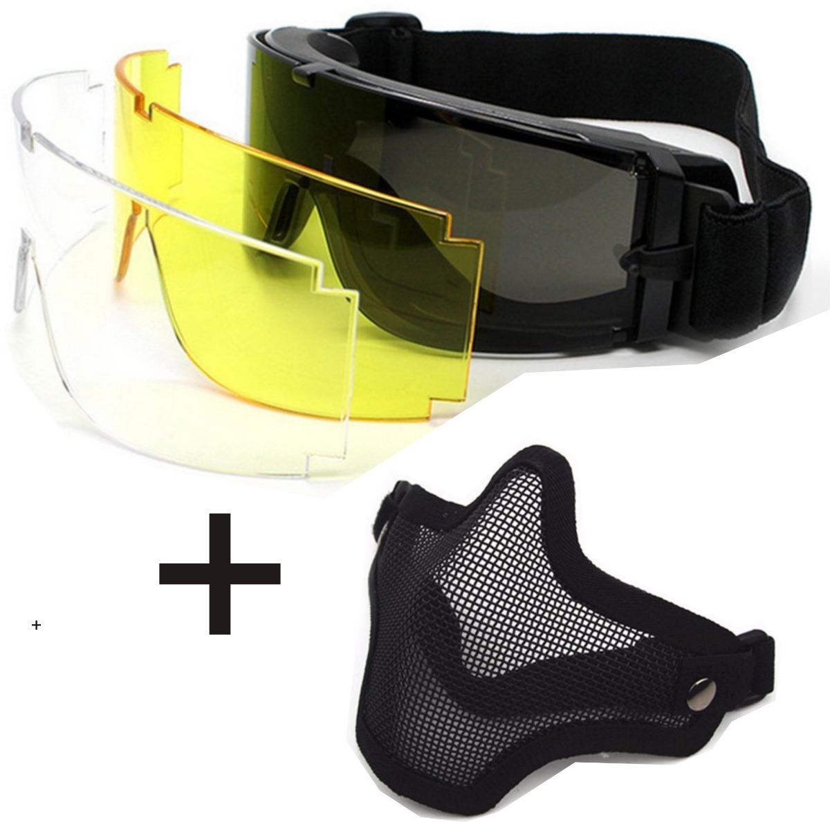 kit óculos tático airsoft x800 3 lentes + mascara telada. Carregando zoom. 4d4296b395