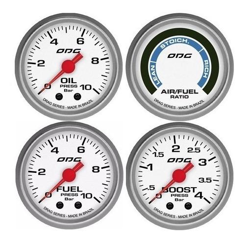 kit odg drag manometros oil fuel boost e hallmeter 52mm