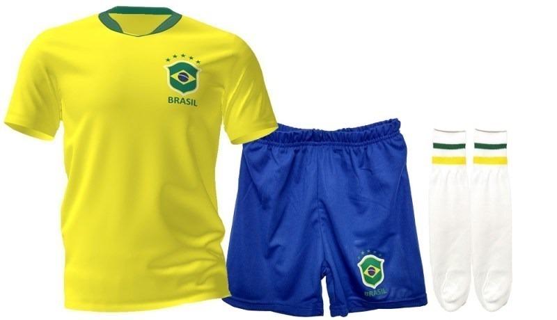 33d6db78a kit oficial do uniforme brasil infantil com numero conjunto. Carregando zoom .