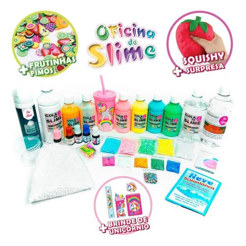 kit oficina de slime premium isa slime + frutinha + squishy