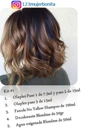 kit olaplex 1 2 3 fanola blondme decolorante y agua oxig
