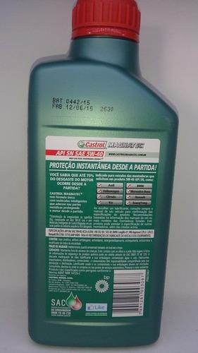 kit óleo 5w40 castrol 100% sintético + filtros vw fox 1.6