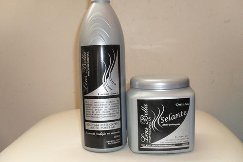 kit óleo argan: selante 1kg+progressiva 1litro - lins bella