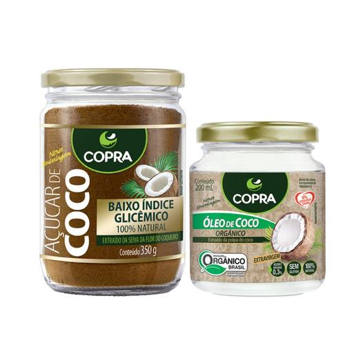 kit óleo de coco orgânico + açúcar de coco 100% natural