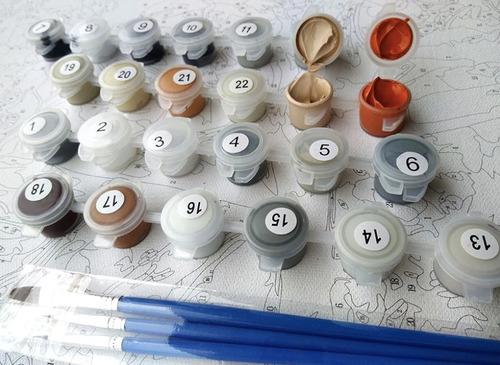 kit oleo pintura por números diy - van gogh cipreses
