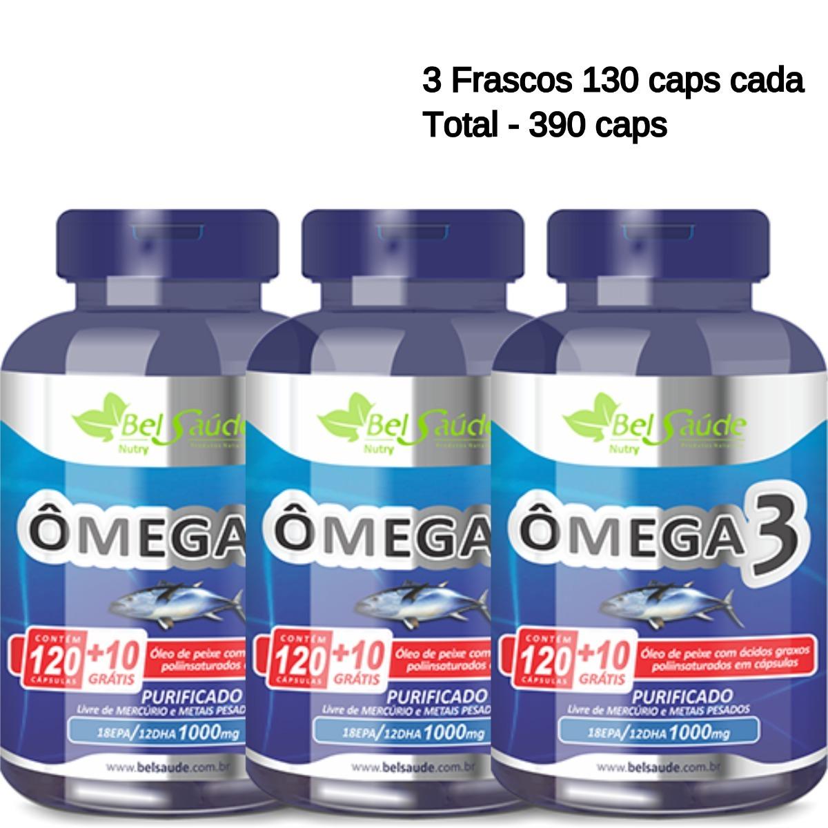 121737ea8 kit omega 3 oleo de peixe (fish oil) 1g bel saude 390 caps. Carregando zoom.
