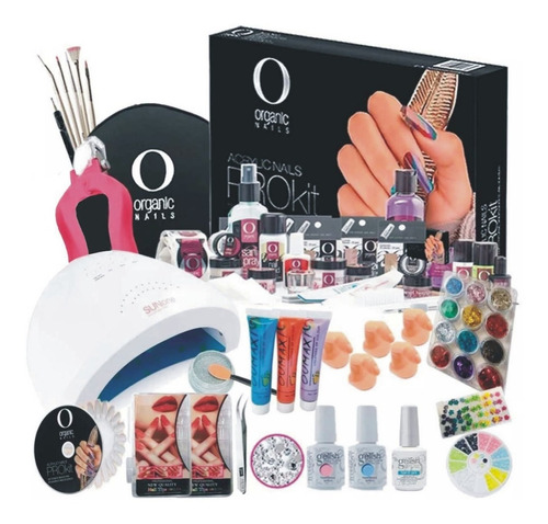 kit organic nails acrílico uñas lamp 48w gelish, finish