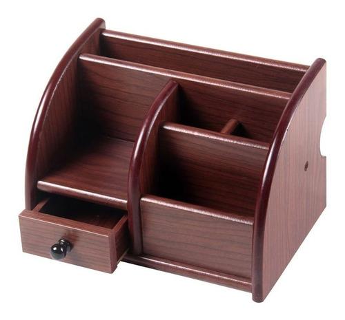 kit organizador de mesa em madeira lápis caneta clips papel