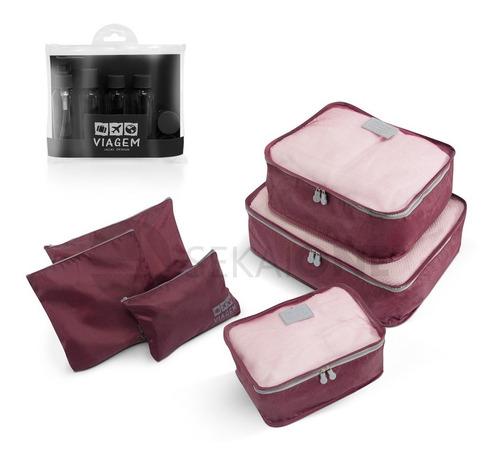 kit organizador mala viagem (6pc) + frascos viagem (7pc)