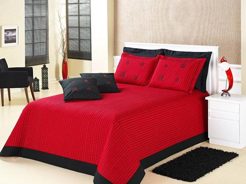 kit oriental solteiro vermelho 5 pcs 100% algodao 150 fios
