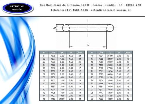 kit oring milímetros vedação - 382 anéis de 30 medidas
