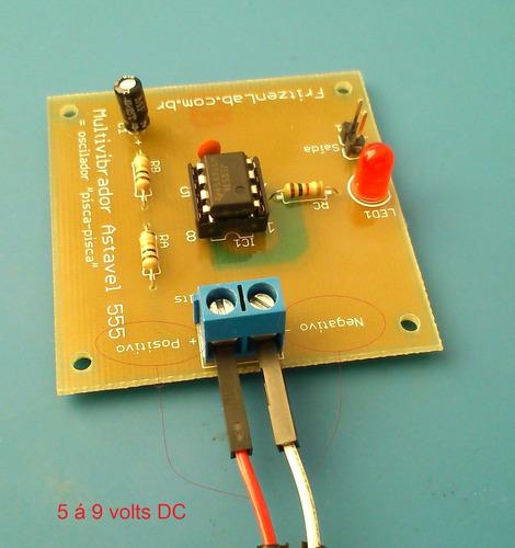 kit oscilador com circuito integrado 555 p/ aprendizagem