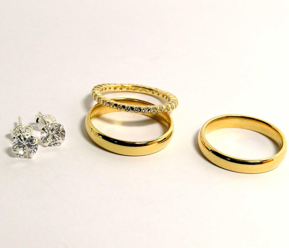 Aparadores Zapatos ~ Kit Ouro E Prata Par De Alianças + Aparador + Brincos R$ 399,00 em Mercado Livre