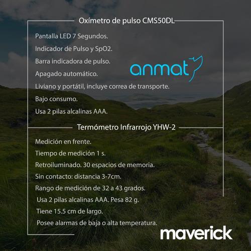 kit oximetro + termometro infrarrojo maverick 1 año garantía