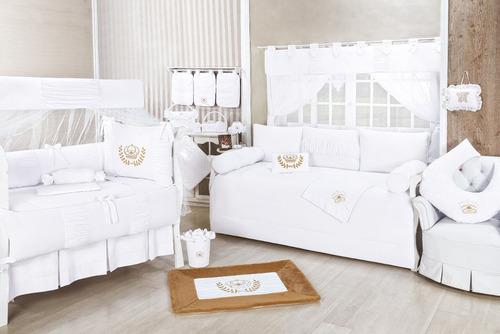 kit p/ berço enxoval bebe real 10 pçs algodão branco dourado