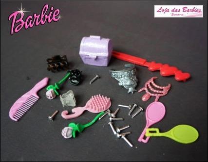 kit p/ boneca barbie acessórios super fashion luxo 25 peças