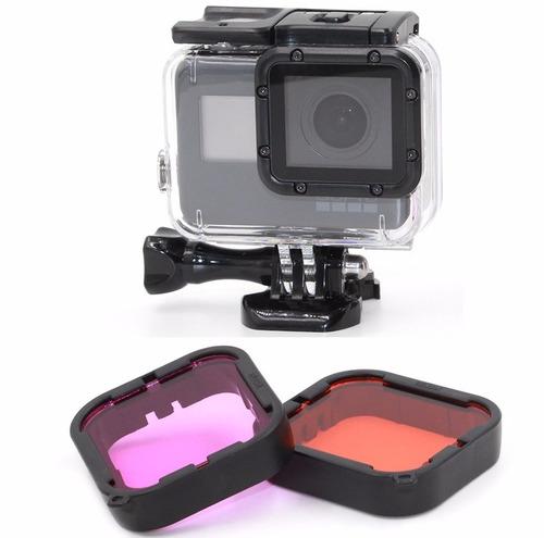 kit p gopro hero 5 hero 6 estanque filtros película bateria