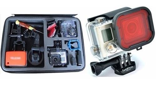 kit p gopro maleta grande bag filtro mergulho vermelho