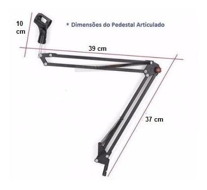 kit p/ mic condensador suporte mesa articulado + aranha