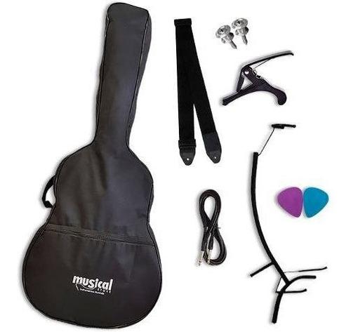 kit p/ violão capotraste capa cabo correia palhetas suporte