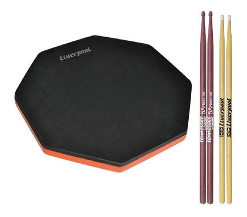 kit pad para estudo pad 12eva + baquetas tnrox 5am + ll7an
