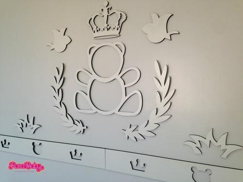kit painel de parede mdf branco urso príncipe quarto do bebê