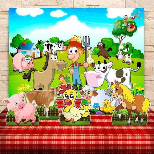 kit painel+displays festa infantil fazendinha, cenários