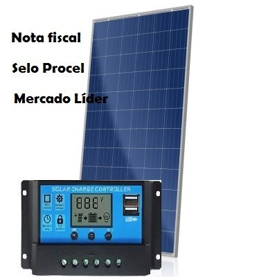 kit painel placa controlador solar fotovoltaica  150w watts