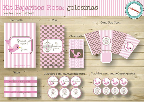 kit pajaritos rosa