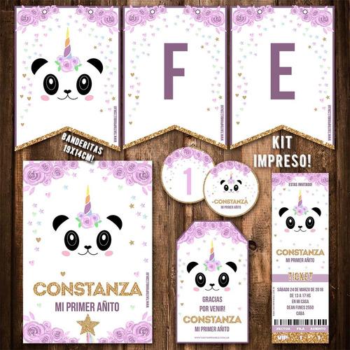 kit pandicornio invitaciones, stickers, banderín impreso!