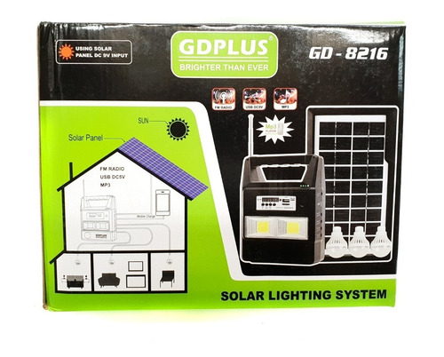 kit panel solar +3 bombillos+radio mp3+ bluetooth power bank