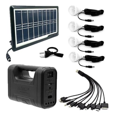 kit panel solar+4 bombillos+batería+linterna carga celulares