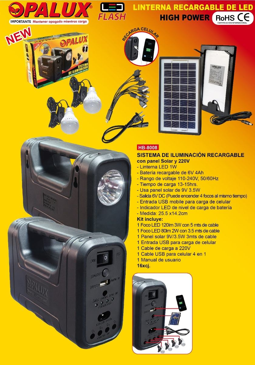 Kit Panel Solar Portatil 2 Focos Leds Y Bater 237 A Recargable