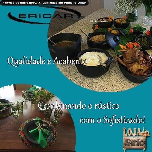 kit panelas de barro 2,3 e 4 + suporte moqueca arroz e pirão