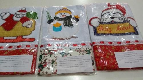 kit panos de prato natal bordados. contem 06 unidades oferta