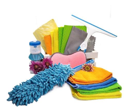 kit paños microfibra limpieza 14 piezas muebles tecnologia