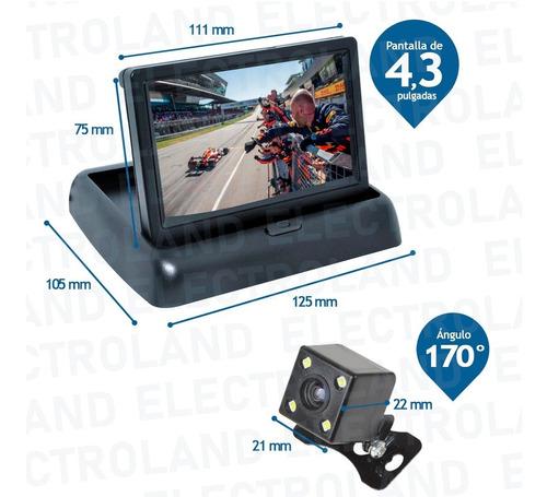 kit pantalla rebatible monitor 4.3 y camara marcha atras rca