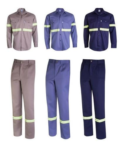 kit pantalón y camisa de trabajo ombu con reflectivos xxl