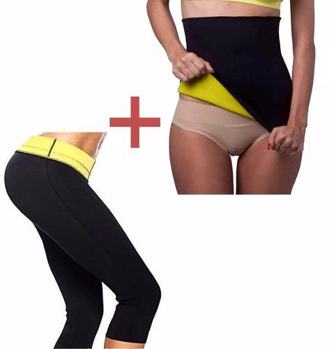 kit pantalon y cinturilla termica suda hot tv reduce 2 x 1