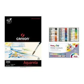 Kit Papel Canson Aquarela +tinta Aquarela Pentel  - 24 Cores