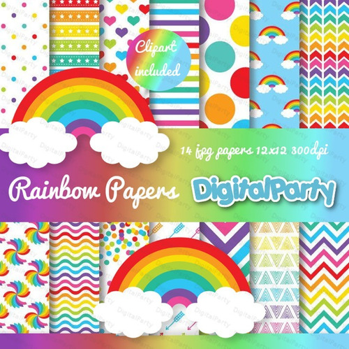 kit papel digital imprimible arcoiris multicolor fondos